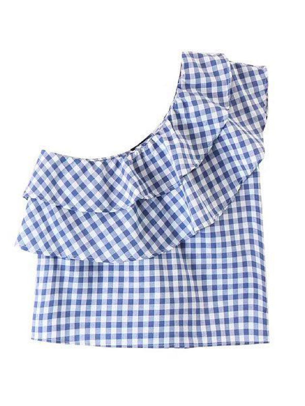 Goodnight Macaroon 'Jeana' Gingham Asymmetric Ruffle Cold Shoulder Top Back