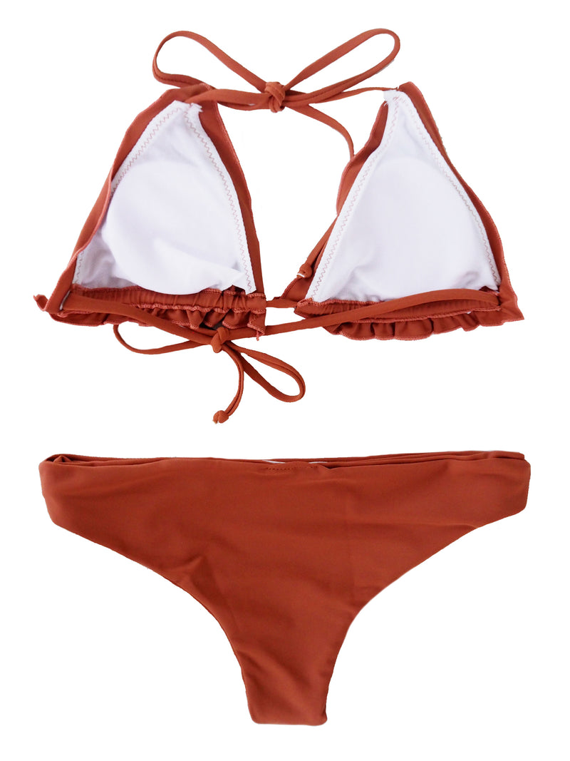 'Janette' Rust Red Ruffle Bikini Set