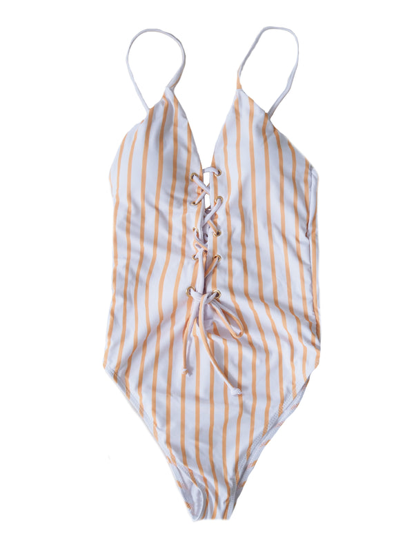 Goodnight Macaroon 'Gladys' Striped Front Tied Criss Cross Swimsuit Front
