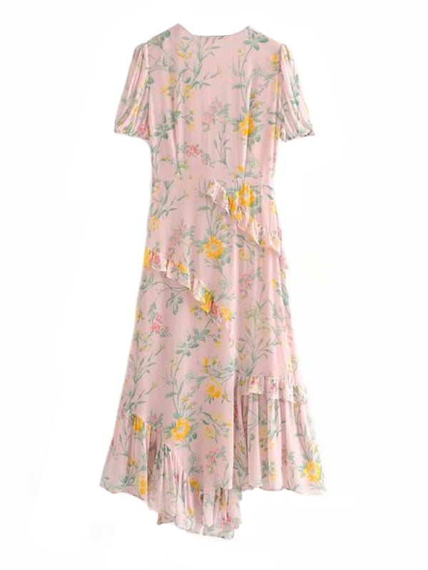 Goodnight Macaroon 'Cate' Frilly Floral Print Maxi Dress Back