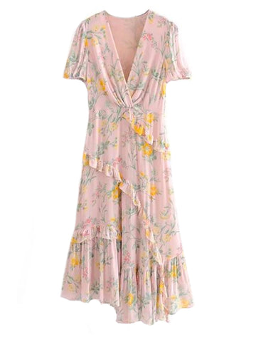 Goodnight Macaroon 'Cate' Frilly Floral Print Maxi Dress Front