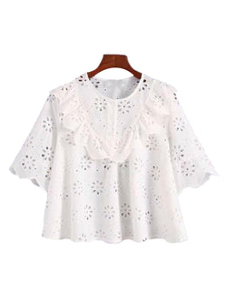 Goodnight Macaroon 'Dolley' Ruffle Bib Petal Broderie Anglaise Top Front