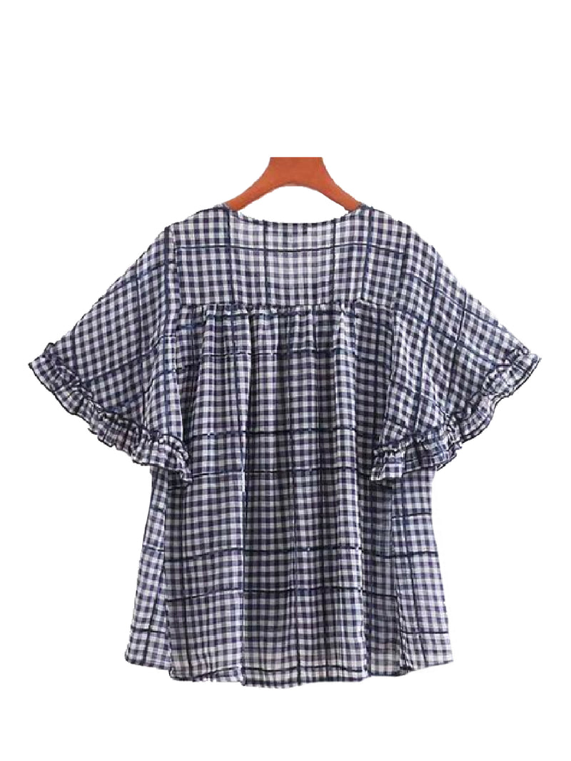 Goodnight Macaroon 'Penny' Ruffle Blue Gingham Crewneck Sequin Top Back