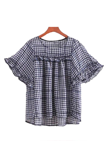 Goodnight Macaroon 'Penny' Ruffle Blue Gingham Crewneck Sequin Top Front
