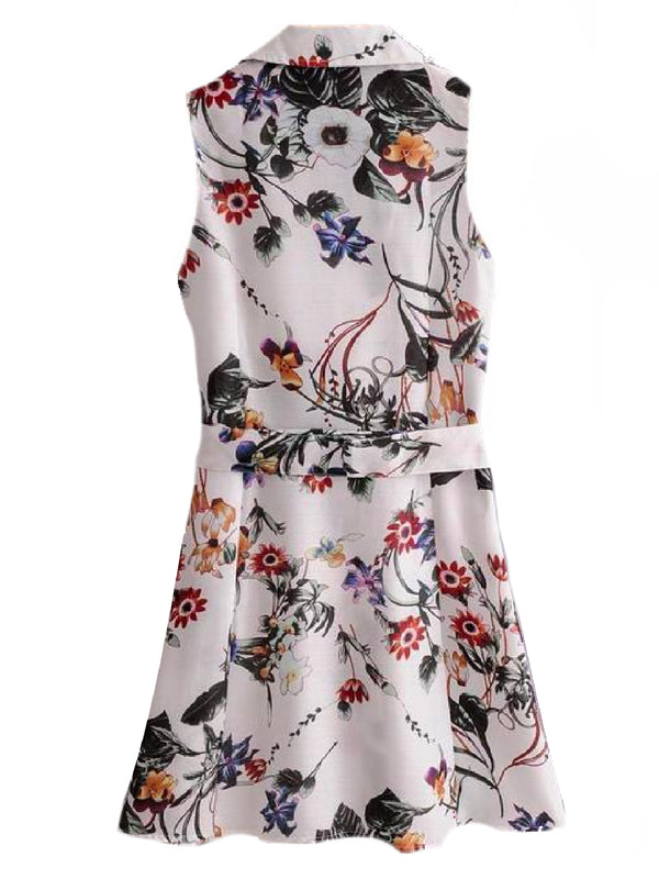 Goodnight Macaroon 'Shelby' Floral Print Sleeveless Belted Shirt Dress Back
