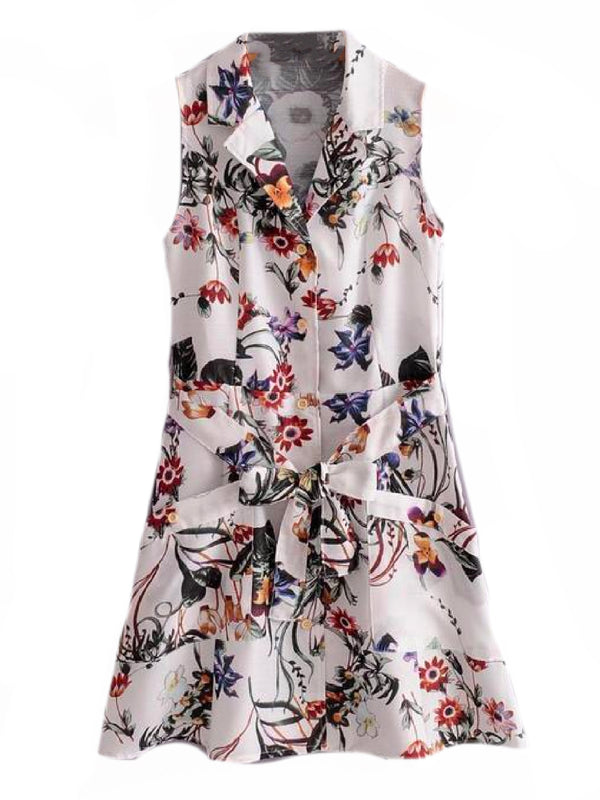 Goodnight Macaroon 'Shelby' Floral Print Sleeveless Belted Shirt Dress Front