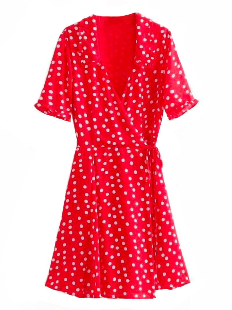 'Harley' Polka Dot Flare Wrap Dress Red Front