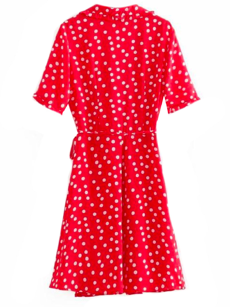 'Harley' Polka Dot Flare Wrap Dress Red Back