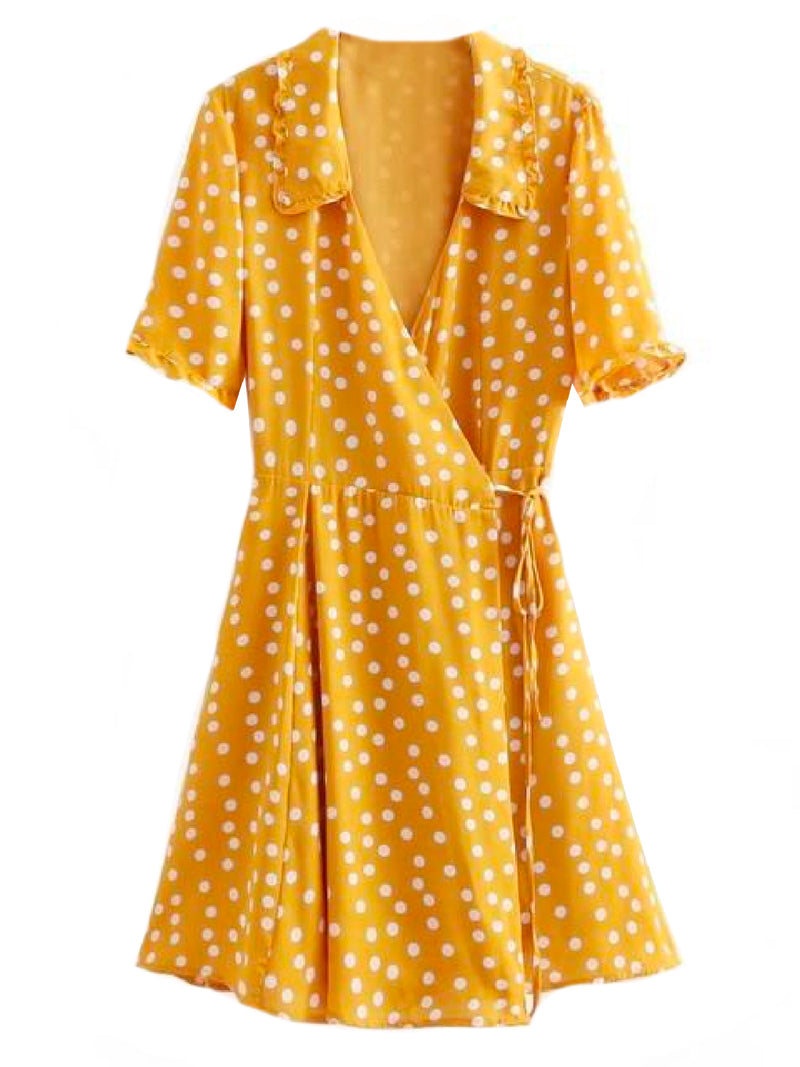 'Harley' Polka Dot Flare Wrap Dress Yellow Front
