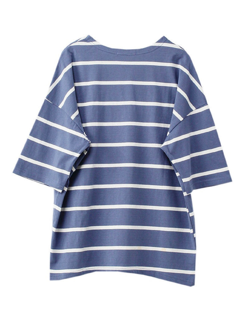 Goodnight Macaroon 'Zoya' Striped Cotton Oversized T-Shirt Blue Back