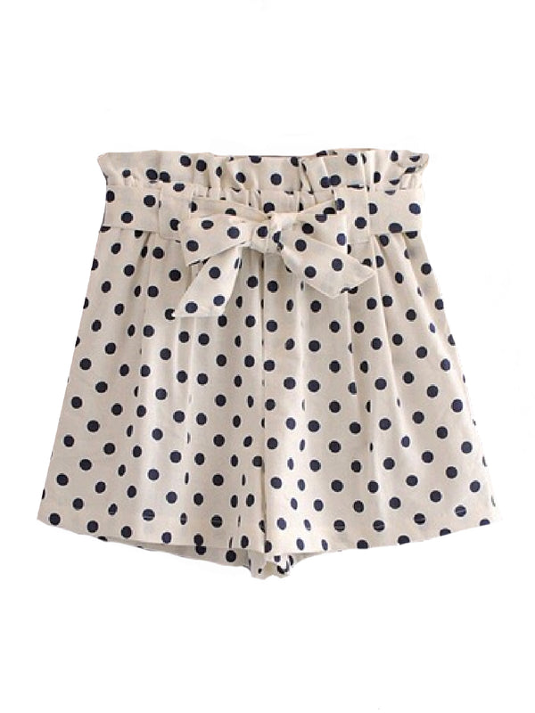Goodnight Macaroon 'Naomi' Polka Dot Waist Tied Shorts Front