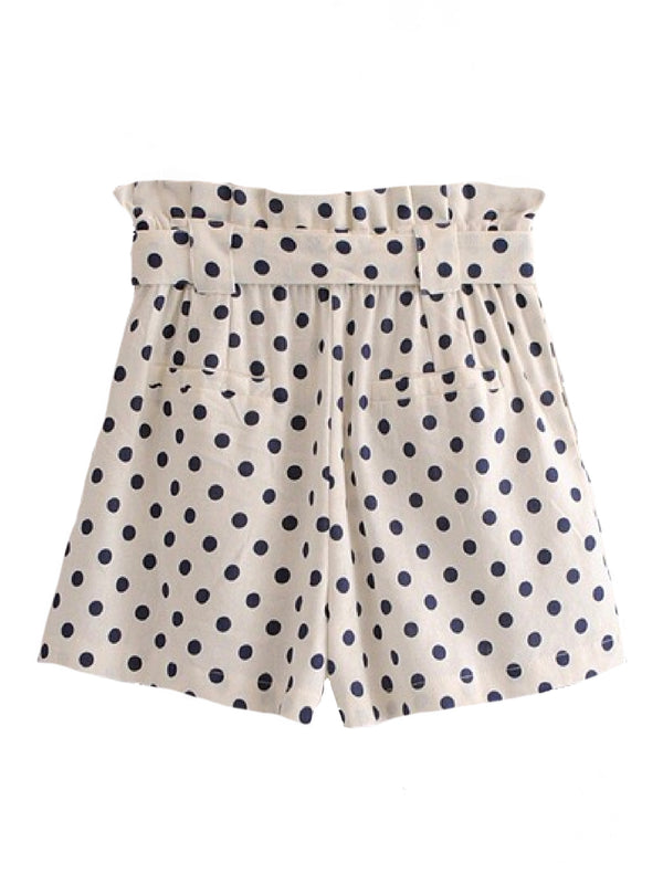 Goodnight Macaroon 'Naomi' Polka Dot Waist Tied Shorts Back