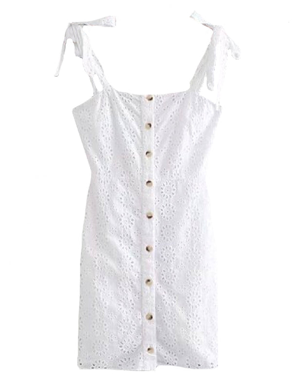 Goodnight Macaroon 'Rosy' Broderie Anglaise Button Front Mini Dress Front