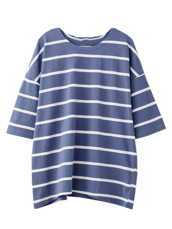 Goodnight Macaroon 'Zoya' Striped Cotton Oversized T-Shirt Blue Front