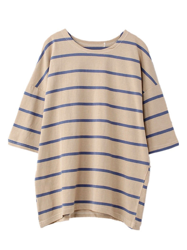 Goodnight Macaroon 'Zoya' Striped Cotton Oversized T-Shirt Khaki Front