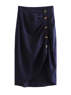 Goodnight Macaroon 'Winifred' Dark Blue Chambray Button Up Wrap Skirt Front