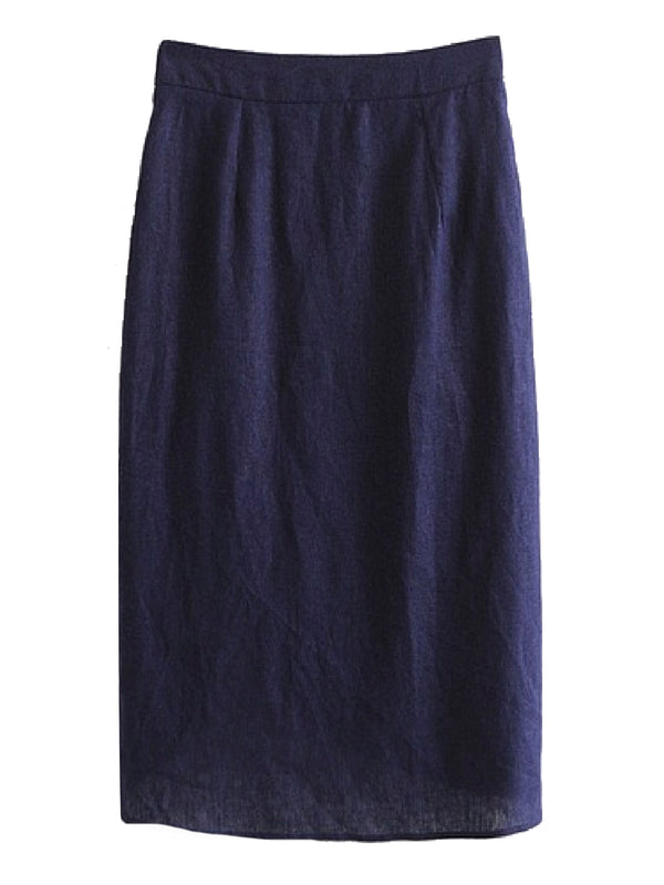 Goodnight Macaroon 'Winifred' Dark Blue Chambray Button Up Wrap Skirt Back