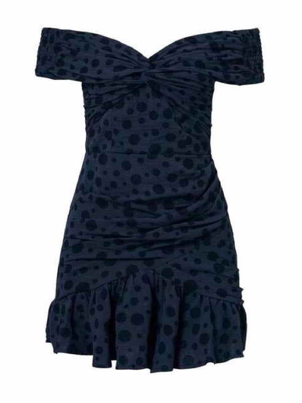 Goodnight Macaroon 'Yvette' Dotted Off The Shoulder Mini Dress Black Front