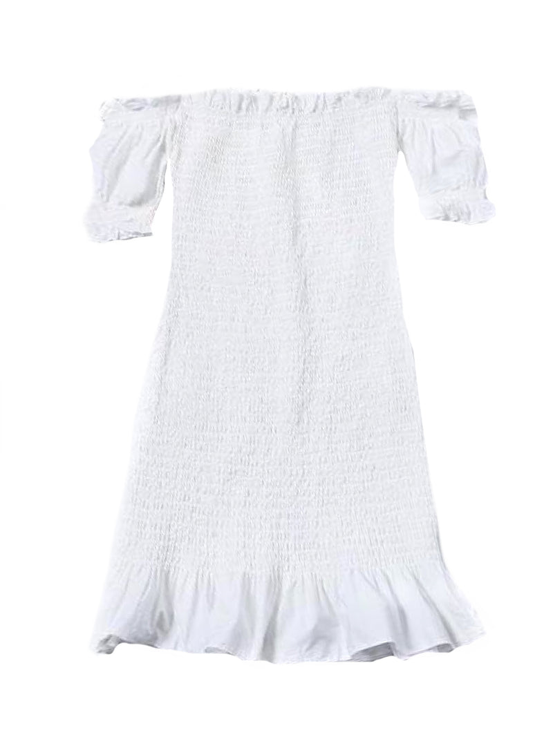 Goodnight Macaroon 'Zandra' Ruched Frill Hem Off The Shoulder Mini Dress White