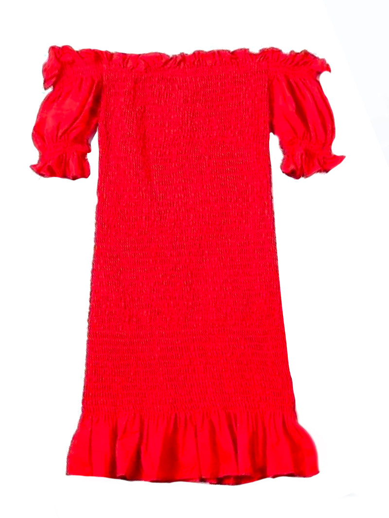 Goodnight Macaroon 'Zandra' Ruched Frill Hem Off The Shoulder Mini Dress Red