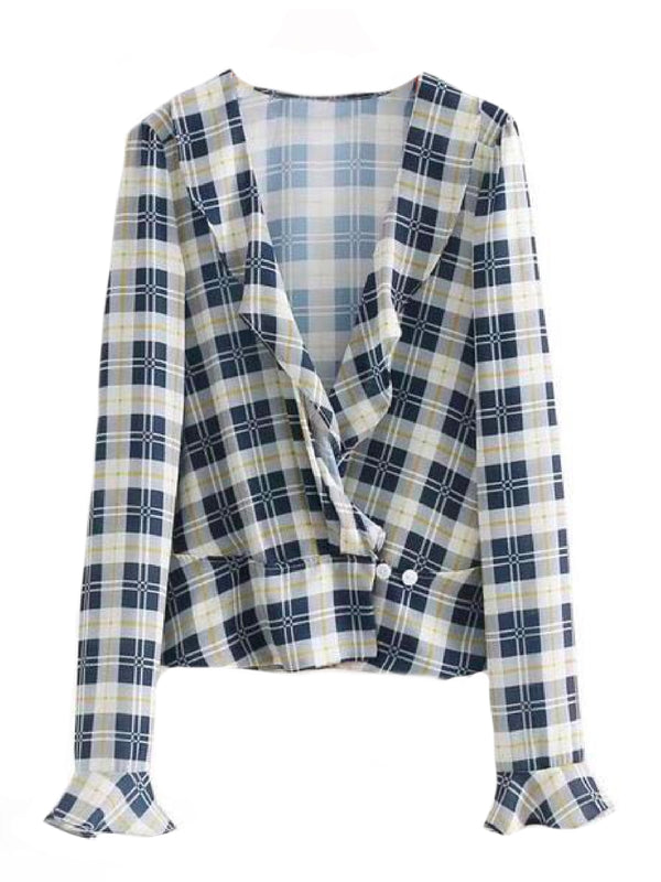 Goodnight Macaroon 'Suki' Plaid Ruffle Collar Peplum Shirt Front