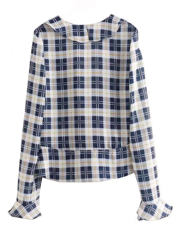 Goodnight Macaroon 'Suki' Plaid Ruffle Collar Peplum Shirt Back