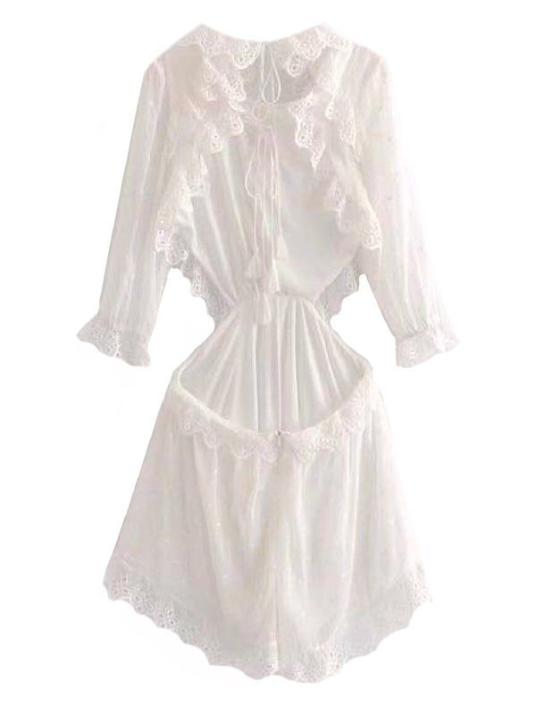 Goodnight Macaroon 'Taylor' Broderie Anglaise Ruffle Cutout Open Back Romper Front