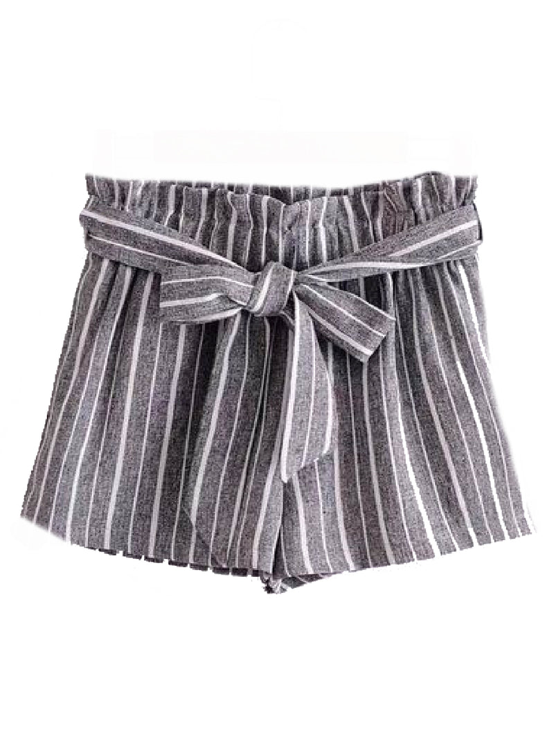 Goodnight Macaroon 'Sheila' Striped Front Tied Paper Bag Shorts Gray Front