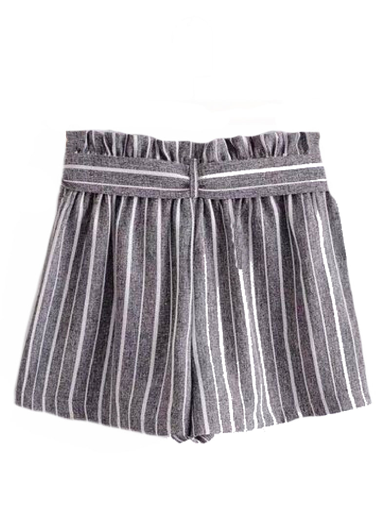 Goodnight Macaroon 'Sheila' Striped Front Tied Paper Bag Shorts Gray Back