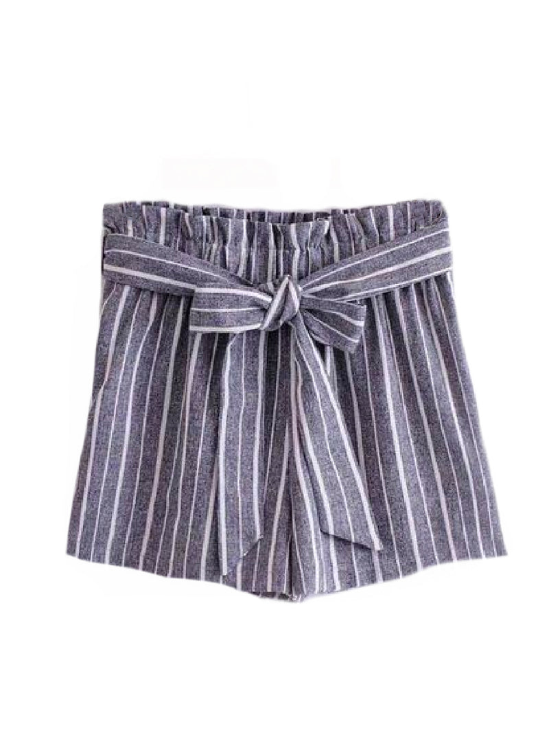 Goodnight Macaroon 'Sheila' Striped Front Tied Paper Bag Shorts Blue Front