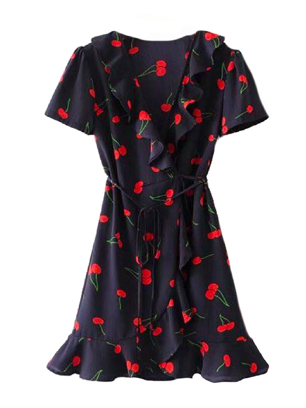 Goodnight Macaroon 'Maybell' Cherry Print Ruffle Wrap Dress Front