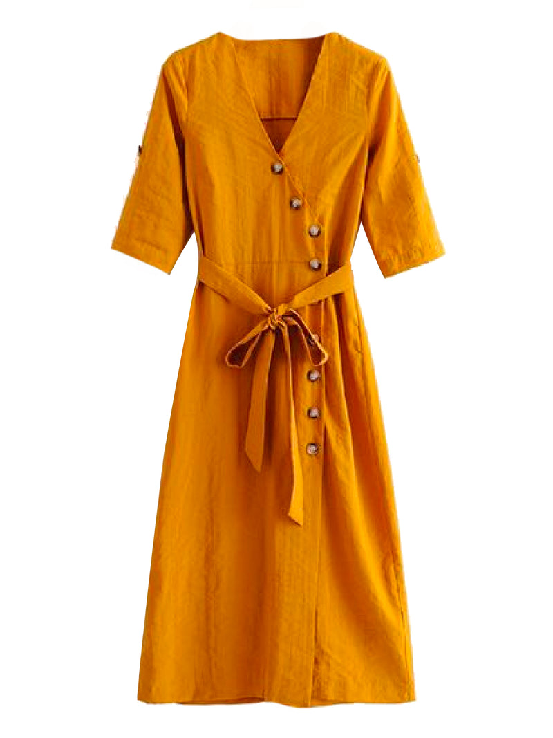 Goodnight Macaroon 'Mikheala' Side Wrap Button Up Midi Dress Front