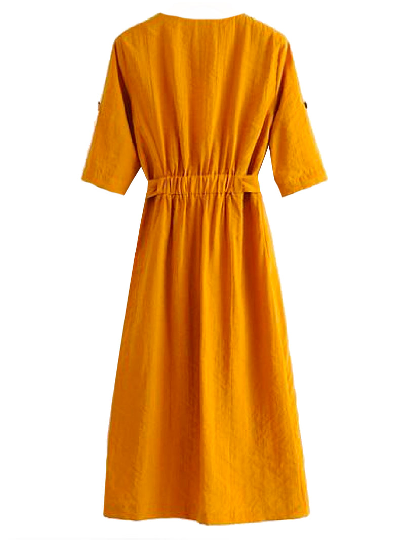 Goodnight Macaroon 'Mikheala' Side Wrap Button Up Midi Dress Back