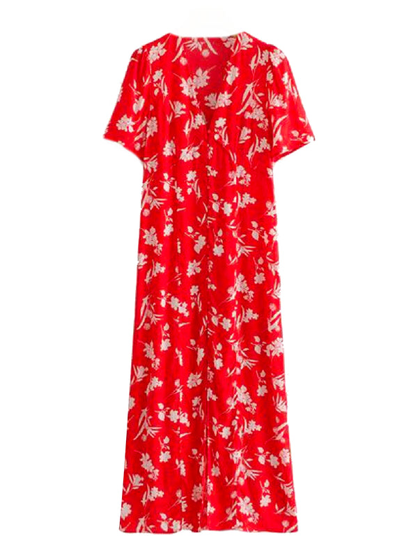Goodnight Macaroon 'Julie' Floral Print V-Neck Short Sleeve Maxi Dress Front