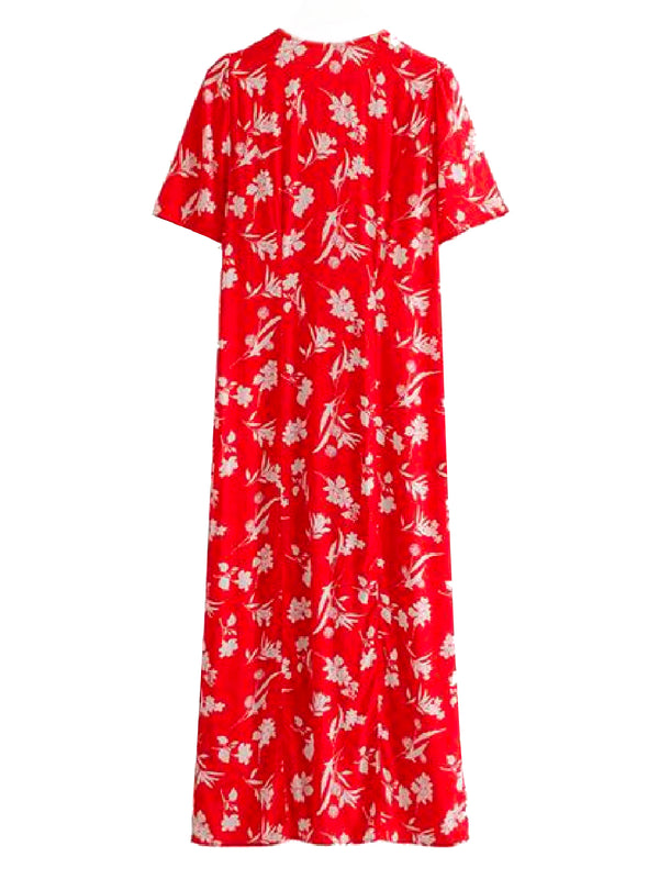 Goodnight Macaroon 'Julie' Floral Print V-Neck Short Sleeve Maxi Dress Back