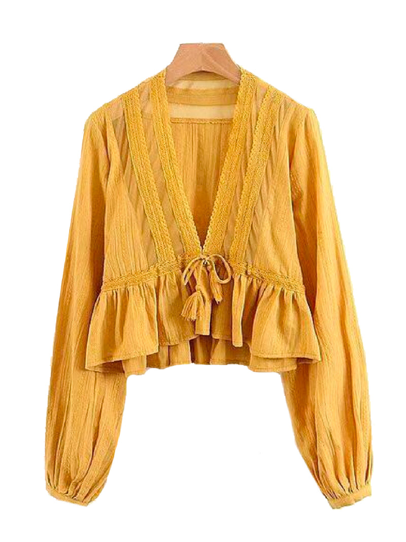 Goodnight Macaroon 'Darcey' V-Neck Lace Tassels Tied Peplum Top Yellow Front