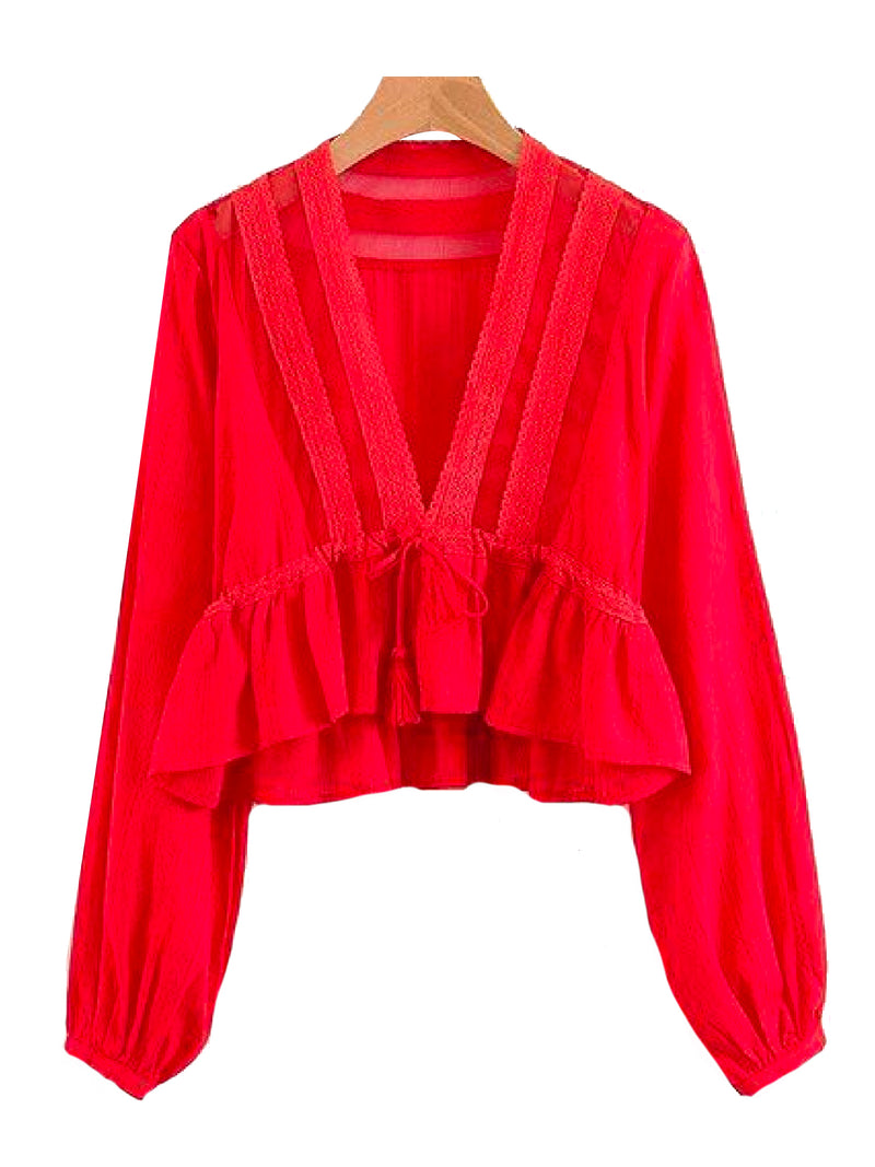 Goodnight Macaroon 'Darcey' V-Neck Lace Tassels Tied Peplum Top Red Front