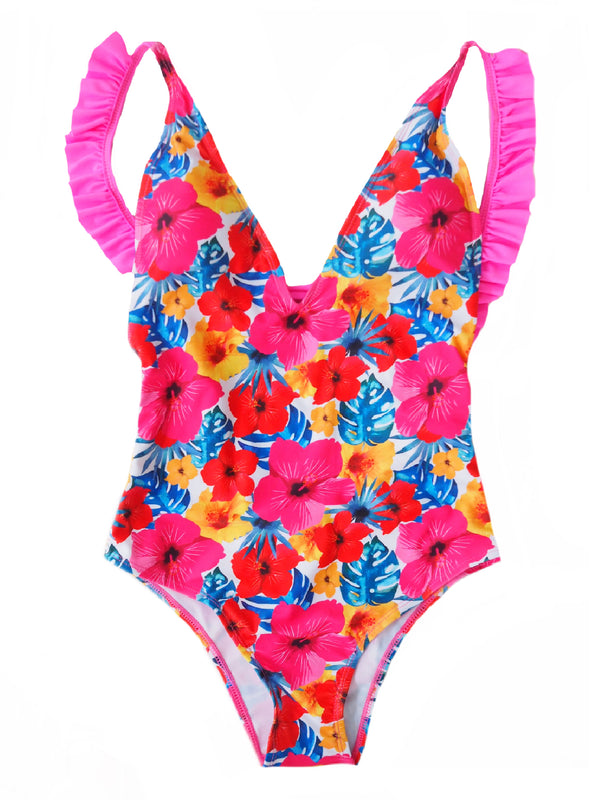 Goodnight Macaroon 'Hazel' Floral Print Ruffle Open Back One Piece Swimwear Front