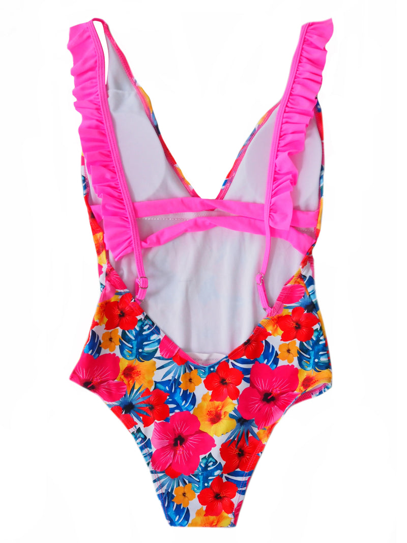 Goodnight Macaroon 'Hazel' Floral Print Ruffle Open Back One Piece Swimwear Back