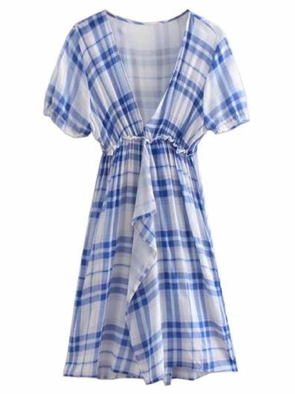 Goodnight Macaroon 'Valery' Plaid Plunge Neck Frilly Front Midi Dress Front