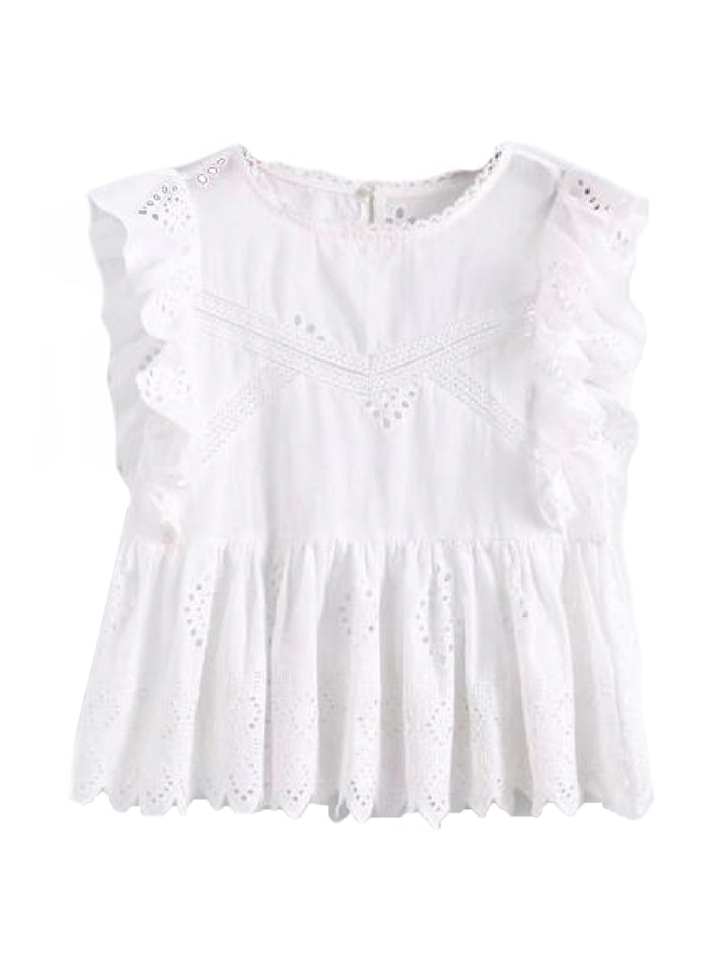 Goodnight Macaroon 'Felicia' White Broderie Anglaise Ruffle Sleeve Peplum Top Front