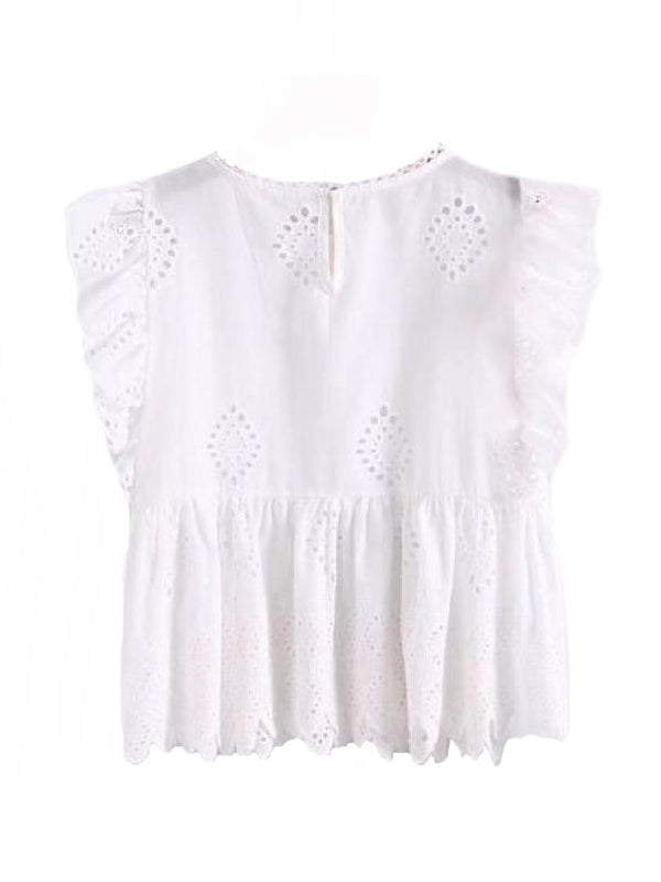 Goodnight Macaroon 'Felicia' White Broderie Anglaise Ruffle Sleeve Peplum Top Back