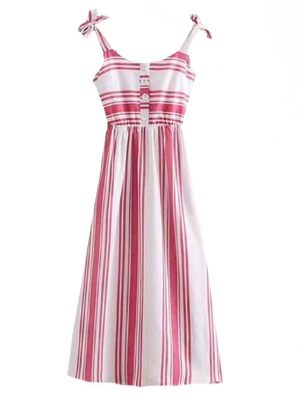 Goodnight Macaroon 'Jordyn' Striped Shoulder Strap Midi Dress Front