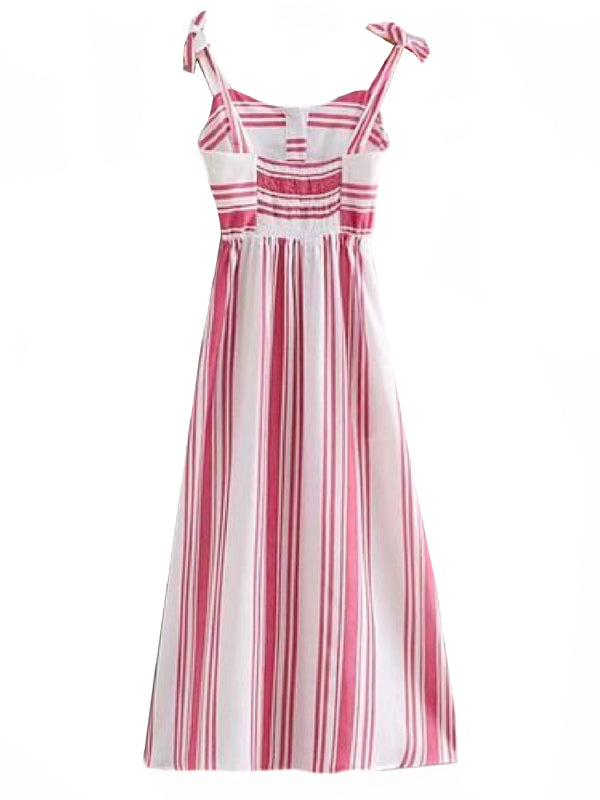 Goodnight Macaroon 'Jordyn' Striped Shoulder Strap Midi Dress Back