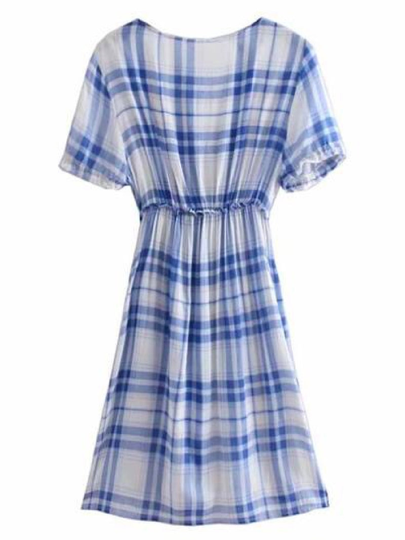Goodnight Macaroon 'Valery' Plaid Plunge Neck Frilly Front Midi Dress Back