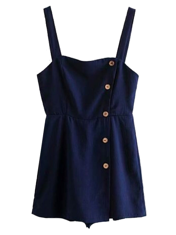 Goodnight Macaroon 'Vada' Navy Shoulder Strap Button Up Romper Front