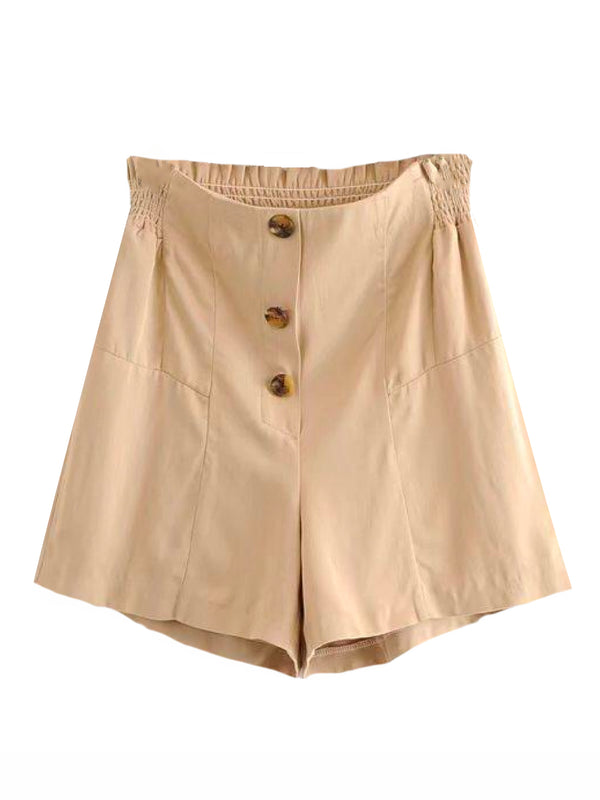 Goodnight Macaroon 'Gia' Button Front Ruched Waist Casual Shorts Front