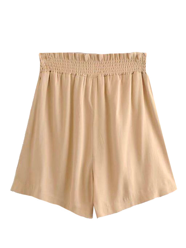 Goodnight Macaroon 'Gia' Button Front Ruched Waist Casual Shorts Back