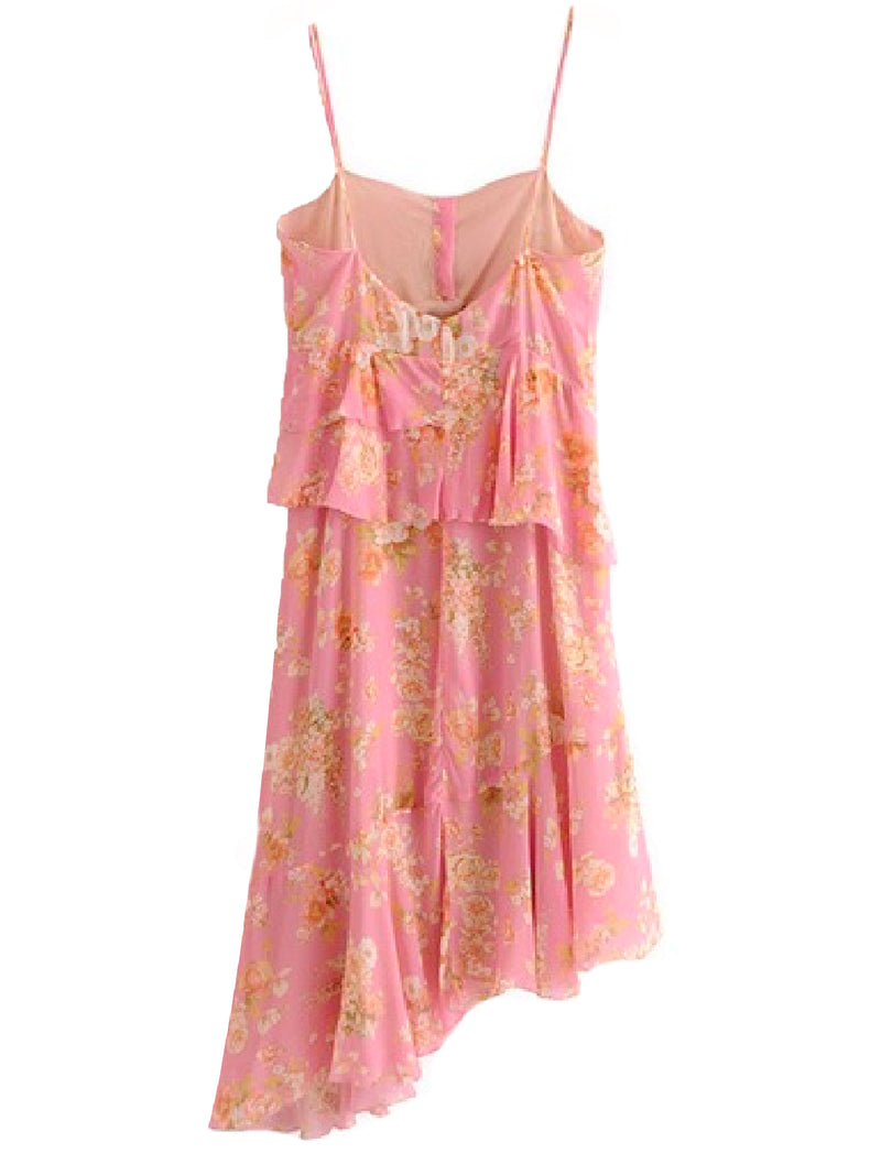 Goodnight Macaroon 'Ferity' Floral Print Asymmetric Hem Midi Dress Back