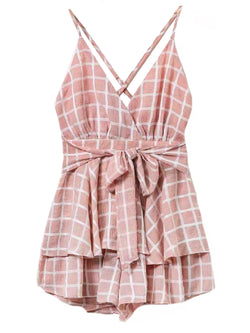 Goodnight Macaroon 'Hana' Cross Back Front Tied Babydoll Dress Front